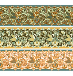 three colored ornamental seamless pattern stripe vector image vector image
