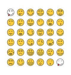 yellow thin line emoji set vector image
