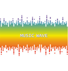 3d rainbow pulse music player on white audio vector
