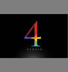 4 number rainbow colored logo company icon design vector