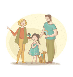 a family mom dad girl and dog vector image