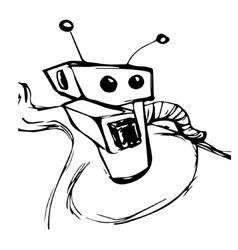 a sketch robot vector image