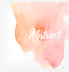 Abstract watercolor stain peach and pink pastel vector