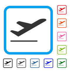 Airplane departure framed icon vector