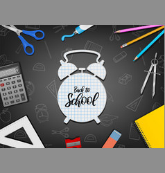 back to school poster with realistic supplies vector image