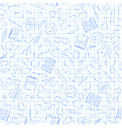 back to school supplies on a sheet of book vector image