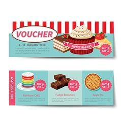 Bakery voucher discount template design vector