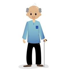 Bald man with walking stick vector