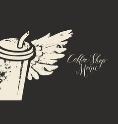 Banner with coffee cup straw and wings vector