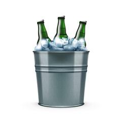 Beer bottles in metal bar ice bucket for cool vector