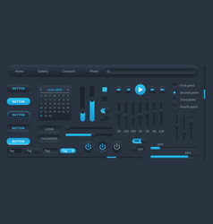 black user interface modern ui elements switches vector image