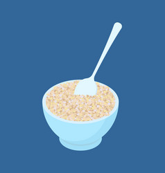 bowl of barley porridge and spoon isolated vector image