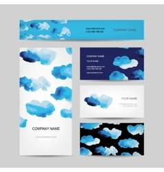 Business cards design watercolor clouds vector
