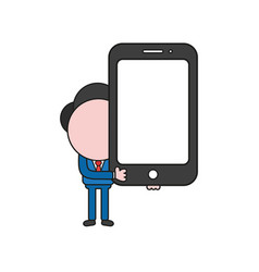 Businessman character holding smartphone color vector