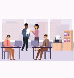 Businessmen and businesswomen discuss working vector