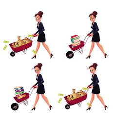 businesswoman pushing wheelbarrow full of money vector image