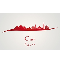 Cairo skyline in red vector image