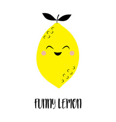 Card with funny lemon isolated on white background vector