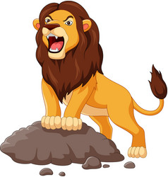 Cartoon lion roaring isolated on white background vector
