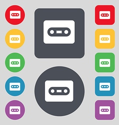 Cassette icon sign A set of 12 colored buttons vector image vector image