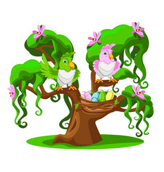 cheerful parrots on a tree vector image