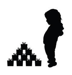 child happy silhouette with gift box vector image