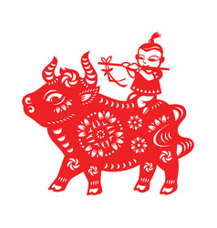 chinese lunar year ox vector image