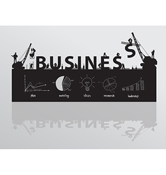Construction site crane building business text vector