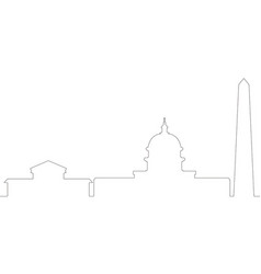 Continous line skyline of washington dc vector