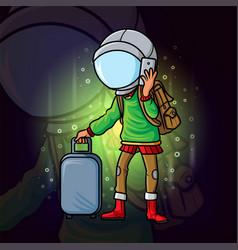Cool traveler with the astronaut helmet esport vector