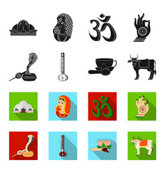 Country india blackflet icons in set collection vector
