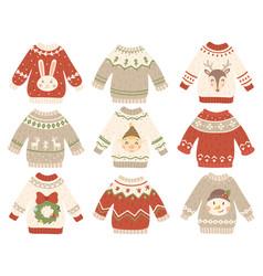 cute christmas jumper xmas ugly sweater vector image