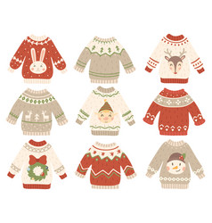Cute christmas jumper xmas ugly sweater with vector