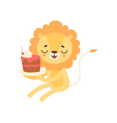 Cute lion eating cupcake funny african animal vector