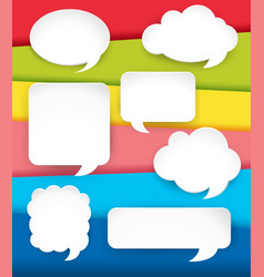 Different speech bubbles on rainbow background vector