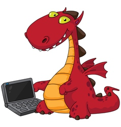 dragon and laptop vector image