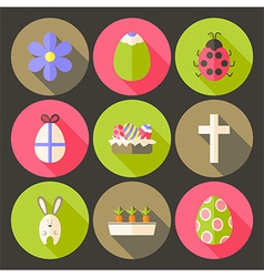 Easter flat styled circle icon set 7 with long vector