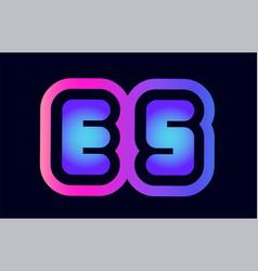 es e s pink blue gradient alphabet letter logo vector image