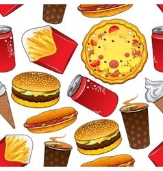 Fast food and drinks seamless pattern vector image
