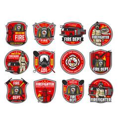 firefighting icons heraldic symbols labels vector image