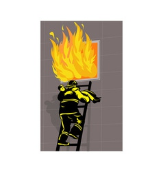 Fireman fire fighter saving boy burning building vector