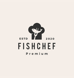 fish chef hat restaurant hipster vintage logo icon vector image