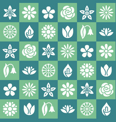 flowers seamless pattern with flat glyph icons vector image