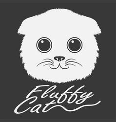 fluffy head white cat vector image
