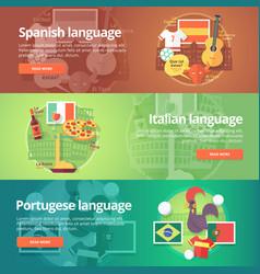 Foreign languages learning banner set design vector