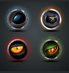 four scary eyes steely rounded badge icon vector image