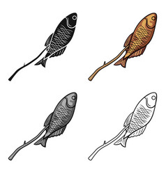 fried fish icon in cartoon style isolated on white vector image