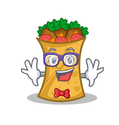 Geek kebab wrap character cartoon vector