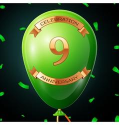 Green balloon with golden inscription nine years vector