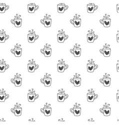hand drawn cute valentines day mug heart pattern vector image